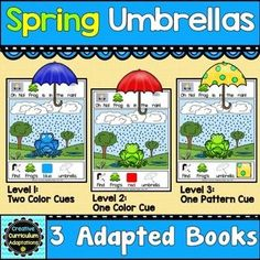 THREE BOOK SET! Interactive adapted books  are a great way to engage beginning readers. Students will love helping Frog find his matching umbrellas to stay dry in the rain.  Each book is differentiated with levels of color/pattern discrimination and matching.