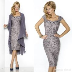 2015 Gray Mother of the Bride Groom Dresses With Jacket Long Sleeve Lace Sweetheart Knee Length Short Party Cocktail Formal Dress Gown Cheap