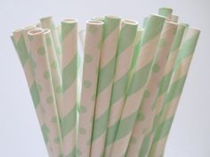 Seafoam Dots and Stripes  Paper Straws  Paper by LouTinenEvents, $3.95