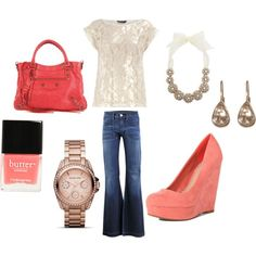 coral, lace, and denim...casual outfit with an itty bit of bling