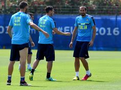 """Giorgio Chiellini of Italy (R) reacts during the training session at """"Bernard Gasset"""" Training Center on June 29, 2016 in Montpellier, France."""