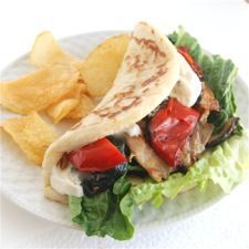 caesar grilled chicken on soft wrap bread- this easy flatbread can make any salad a meal- yum!