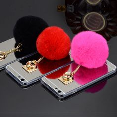 Phone Cases for iPhone 5s 6 6s Plus 7 Plus Luxury Rabbit Fur Ball Soft TPU Mirror Case for Samsung S6 S7 Edge Note 3 4 5 Cover