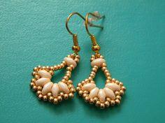 Fan style handmade seed beaded earrings