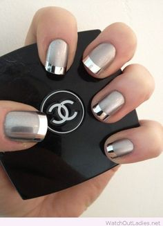 Grey nails with tips