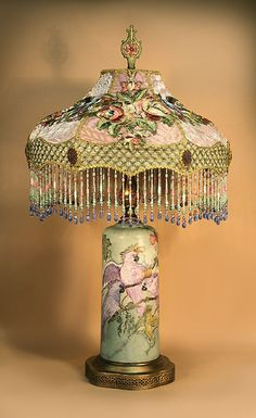 Victorian Lamp with Hand Painted Base and Silk Lampshade with Beaded Fringe