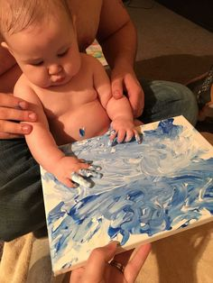 We did a quick winter craft this weekend and I just love how it turned out!Baby Bear had fun with this one too! I made a snowflake on a small canvas with masking tape. I poured some blue and white finger paint on it and let baby push it around with her hands. Once it [...]