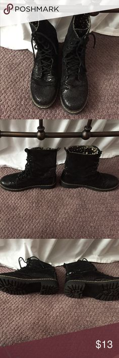 Black sparkle mini combat boots! Pre loved (see pics) sparkly boots!  Size 6.5 UNIONBAY Shoes Ankle Boots & Booties