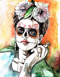Frida Kahlo Smoking Cigarette Day of the Dead by RachaelRossman
