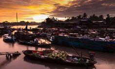Mercado flotante en Can Tho, Delta del Mekong, Vietnam