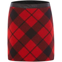 Oui Check plaid wool mini skirt (395 BRL) ❤ liked on Polyvore featuring skirts, mini skirts, bottoms, red, plaid, women, mini skirt, red plaid skirt, red a line skirt and a line mini skirt