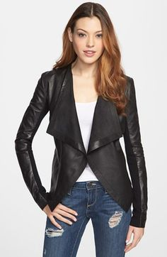 Halogen® 'Waterfall' Leather Jacket (Petite) - go a size up then have it tailored free at Nordstrom