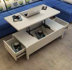 Table Élévatrice, Coffe Table, Luxury Furniture, Home Furniture, Furniture Design, Space Saving Furniture, Living Room Furniture, Tea Table Design, Transforming Furniture