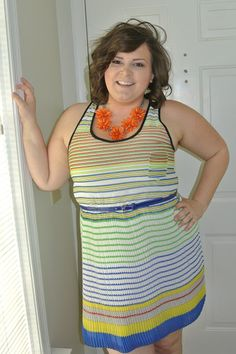 A beautiful striped dress completed with a bright orange statement necklace! Casual outfit inspiration!!! Great blog!