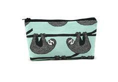 Sloth Toiletry Bag, Zippered Cosmetic Bag, Mint Zippered Pouch, Makeup Bag, Tampon Case, Purse Organizer,  Small zipper bag, Sloth Bag