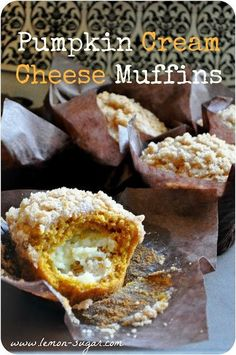 Warm and spicy pumpkin muffins with a crisp strudel topping and filled with a disc of cream cheese. The perfect fall dessert, or fall breakfast!