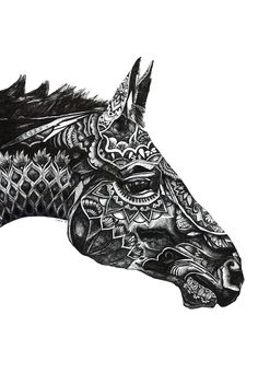 Love the use of different patterns to create the shape of the horse's head and also add shadow and tone. Would like to try and experiment more with using biro and ink pens or perhaps even photoshop to create different patterns