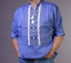 SALE VYSHYVANKA Man Embroidery LINEN Blue Short sleeve shirt #wooyko #Folk