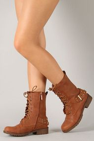 Sotila-2 Stud Lace Up Round Toe Military Mid Calf Boot