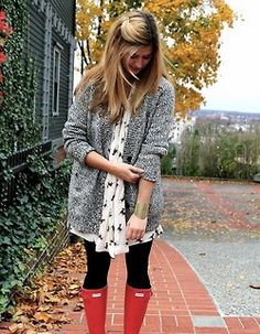 pattern blouse + cozy sweater + red Hunters= perfect rainy day outfits!