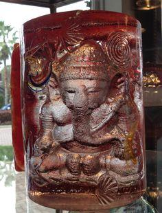 Ganesh bookend II, Glass Sculpture, Susan Gott