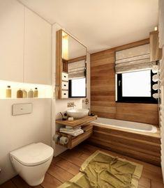 lambris bois, tablier de baignoire assorti, carrelage imitation parquet et miroir rectangulaire