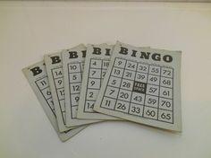 Bingo cards 5 Vintage card games Toys Paper by SouvenirAndSalvage
