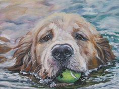Golden Retriever art print CANVAS print of LA by TheDogLover, $39.99