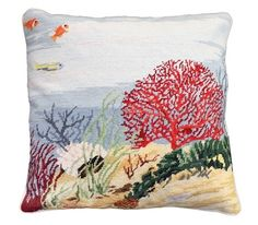 NCU361 CORAL REEF. Beautiful handmade needlepoint pillow made from 100% wool with a cotton velvet zippered back. Removable insert. Bright coral reef is seen at the bottom of the ocean with sea life. Exquisite detail- very realistic. Companion to NCU362 and NCU363 Coral Reef.
