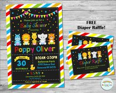 JUNGLE INVITATION, Baby Shower Personalized Invite, Chalkboard, Custom, Digital, Printable, Diaper Raffle, Girl, Party, Boy, Rainbow, Chic by Lollipop Party Supplies in Sydney, Australia.