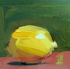 Lemon no. 35 Original Fruit Still Life Oil Painting by Angela Moulton 5 x 5 inch in Birch Plywood Panel pre-order by prattcreekart on Etsy