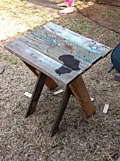 DIY bedside table made from pallet wood
