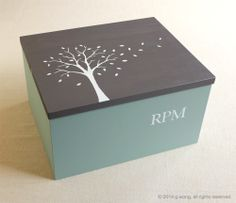 """This is my handmade """"giving tree"""" box design (hand-cut one-of-a-kind stencil artwork). Giving back to others, giving thanks to friends or the ones you love. Find more of my artwork and creations here: https://www.etsy.com/shop/modernvintageart?ref=si_shop © 2014 Modern Vintage Art, all rights reserved."""