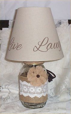Mason Jar Lamp Country Farm Chic Burlap Ribbon by houseandcraft