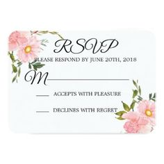 Romantic pink floral wedding rsvp card - wedding invitations cards custom invitation card design marriage party