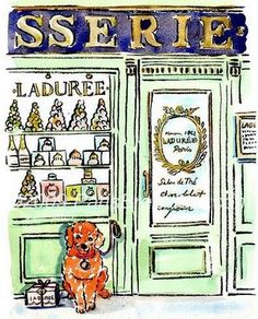 """Surprise the bride with a commissioned watercolor portrait of your pooch posed in front of Laduree by Carol Gillott of """"Paris Breakfast"""" (visit her shop on etsy)"""