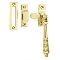 Reeded casement window fasteners in brass bronze chrome or nickel