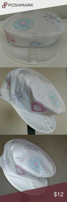"""Spirograph Newsboy cap Hand applied Spirograph designs using fabric pens.20.5"""" circumference. Made from repurposed men's shirt, See buttons on brim. From a local artist boutique. Interior is tiny blue and white Gingham. Stamped mermaid inside cap. Unique fun piece. Accessories Hats"""