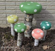 """Whimsical Toadstools For Your Garden..""""With a little paint and some wood, salad bowls, you can make these adorable toadstools for the yard or garden."""""""