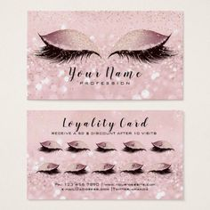 Beauty Loyalty Card 10 Makeup Lashe Rose Gold Pink - rose style gifts diy customize special roses flowers