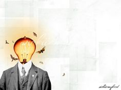 a moth to a light bulb head. Vickiinmyhead