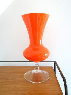 Vase vintage opaline orange