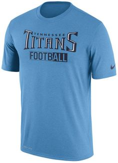 Make sure everyone knows your allegiances on game day with this Nike men's NFL All FootbALL Legend T-shirt. The T-shirt design features the Tennessee Titans name in a colorful display right on the front. Crew neck Short sleeves Screen print team graphic at front Screen print brand logo at left sleeve Regular fit Tagless Polyester Machine washable