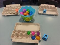 Easter Maths Game Roll the dice and place as many eggs in the carton