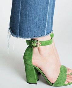 Allover Green Suede Heel
