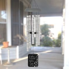 """Personalized Memorial Wind Chime Laser Etched Cherry Wood Remembrance Gift 11/"""""""