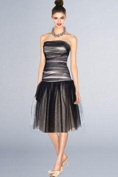 Black Sheer Soft Net Strapless Short Bridesmaid Dress