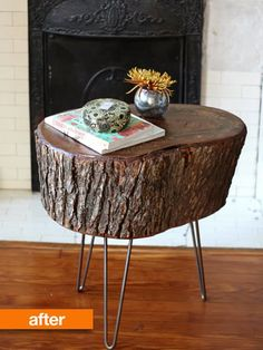 It's 2012 and we've been around long enough to witness several stumps turned side tables, but you know what? We're still not over it. This tutorial will leave you feeling confident in making your own stump side table while keeping the bark on, the shine high and the wood fully sealed.