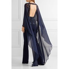 Zuhair Murad Open-back embellished tulle, chiffon and silk-blend crepe... ❤ liked on Polyvore featuring jumpsuits, blue jump suit, jump suit, blue jumpsuit, embellished jumpsuit and crepe jumpsuit