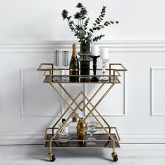 Striking brass and black glass drinks trolley by Danish designers Nordal. This Art Deco style trolley is functional and stylish, perfect for entertaining Art Deco Furniture, Bar Furniture, Unique Furniture, Furniture Design, Modular Furniture, Furniture Showroom, Furniture Removal, Furniture Movers, Refurbished Furniture